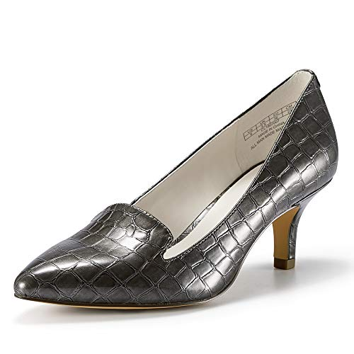JENN ARDOR Women'sLow Kitten Heel Pumps Pointed Toe Slip On Dress Party Office Pumps (7.5, Grey)