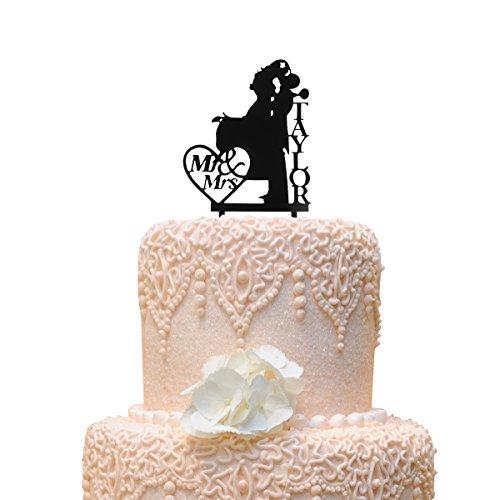 Grinde NO Personalized Bride and Groom Wedding Cake Topper Mr & Mrs Taylor Cake DecorationBlack