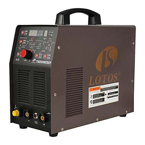 Lotos TIG200ACDCP 200A AC/DC Pulse Aluminum TIG/Stick ARC Welder with Digital Control, IGBT Square Wave Inverter, 110/220V Dual Voltage, 10 Settings Savings, 0.5~200HZ Pulse Frequency, Brown