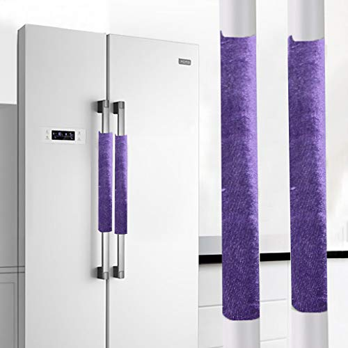 (Gotian A Pair Refrigerator Handle Cover Kitchen Appliance Refrigerator Cover - Prevent the Door Handle from Being too Hot or too Cold - 1 Pair Refrigerator Handle Cover(40(L)×12(W) cm) (Purple))