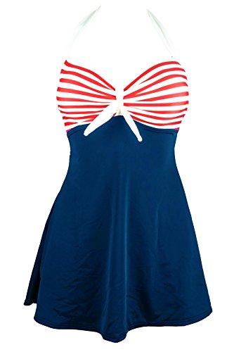 PTmonkey Women's Swimwear Sailor one Piece Backless Halter Neck with Bow Swimdress (L, Navy Red)