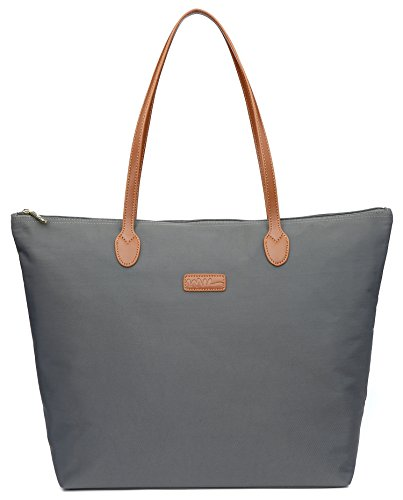 NNEE Water Resistant Light Weight Nylon Tote Bag Handbag - Large Size, Dark Gray
