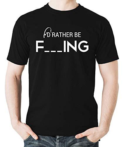 d3bfae791 I'd Rather Be Fishing Funny Humour Parody Fishing Men's T-Shirt (Black