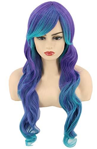 Topcosplay Womens Wigs Long Curly Colorful Lolita Harajuku Mermaid Wig Halloween Costumes Wig Gradient Teal Blue Purple]()