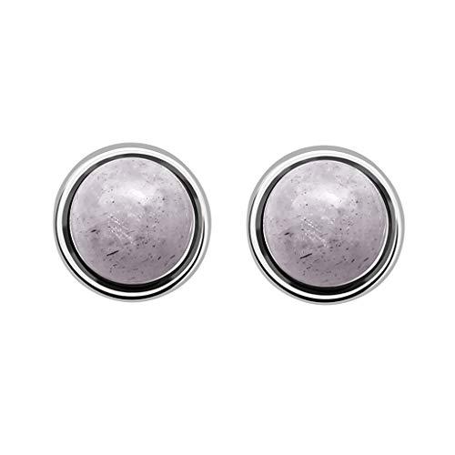 (Psunrise Pendientes Fresh and Temperament Semi-Precious Stones Compact Multi-Color Round Earrings(0.8cm, Gray))