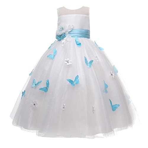 Amelia Flower Sash with Butterflie (14, Light Blue) (Care Package Delivery Nyc)