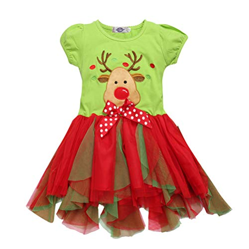 Mrsrui Baby Girl Christmas Santa Reindeer Party Dress