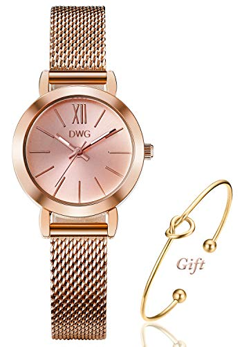Women's Rose Gold Watch Analog Quartz Stainless Steel Mesh Band Casual Fashion Ladies Wrist Watches with Love Knot Bracelet Gift (Pink Rose 1)