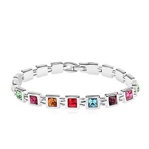 Cut Multi Gemstone Bracelet (RIZILIA Tennis Bracelet & Princess Cut Crystal [Multi-color] in White Gold Plated, 7