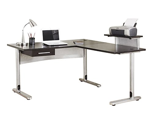 FIVEGIVEN Corner Office Desk L Shaped Desk for Home Office Black (Corner L-shaped Office Desk)