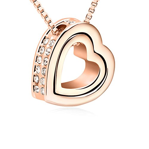Xingzou Swarovski Elements Pendant Necklace for Women Rose Gold Plated Dual Heart Hollow Crystal Jewelry