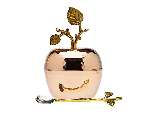 Godinger Silver Art Copper Leaf Honey Dish Jar Container With Serving Spoon ()