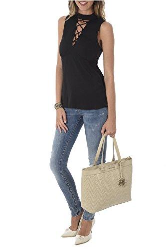 Cuir Les Pochette Pu Vrbby4 Beiges Damassé En Sac Jeans Versace Cabas gwXznZ