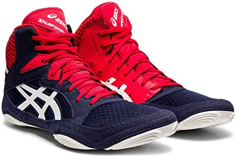 416Wu5HGUpL. AC ASICS Men's Snapdown 3 Wrestling Shoes    Made in USA or ImportedBreathable Mesh Upperkimono tongue inspiration provides a better foothold and an improved fitSynthetic Leather and Mesh Upper: Lightweight, comfortable and breathable, enhancing performance and fit