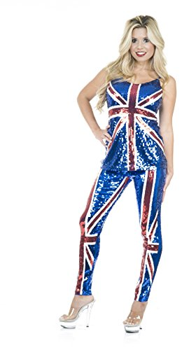 Ginger Power Costumes (British Flag Sequin Top And Pants (X-Large (14-16)))