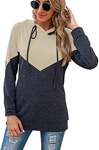 Bunanphy Color Block Tie Dye Gradient Loose Casual Long Sleeve Fall Sweatshirt Hoodie For Women