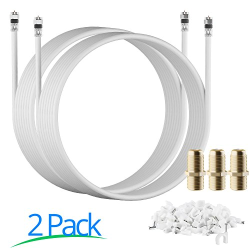 RG-6 | 20 Ft | White | 2 Pack | UL CL2 Certified Cable Quad Shielded Coaxial Cable (Omni 8008)