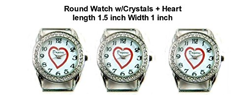 PlanetZia 2pcs Round Rhinestone Watch Faces with Heart Center for Interchangeable Beaded Bands TVT-CD2 (White)