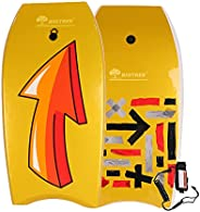 Panda Eye Bodyboard, Lightweight Boogie Board with Coiled Wrist Leash, EPS Core Smooth Top Deck and High-Speed