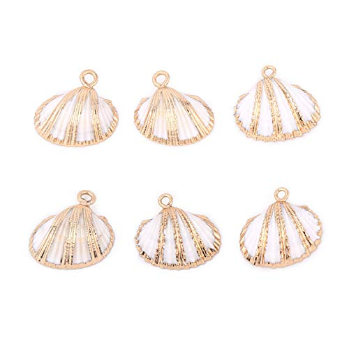 White Scallop Shells Pendant Small Ark Clam Sea Shell Charms with Gold Bands Bulk for Jewelry Making Crafts -6PCS ()
