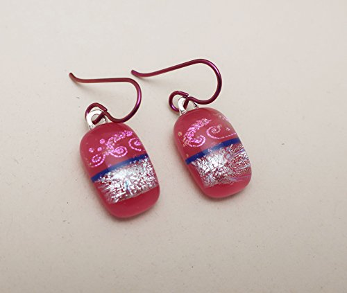 Modern Art Magenta pink silver fused dichroic Glass dangle Earrings Niobium ear wires ()