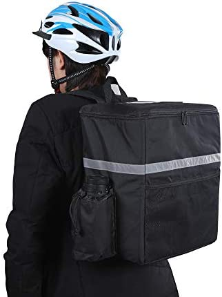 Insulated Food Delivery Bag for Uber Eats, Cooler Backpack, Keep Pizza Warmer/Hot, with Cup Holder, Black