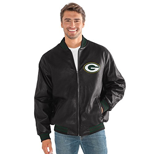 G-III Sports Green Bay Packers Men's Stiff Arm Full Zip Black Pu Leather Jacket - Bay Leather Jacket