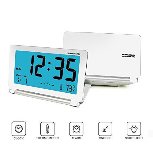 KLAREN Alarm Clock, Travel Clock LCD Mini Digital Desk Folding Electronic Alarm with Blue Backlight White