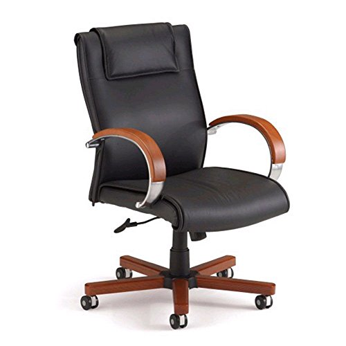 Apex Leather Mid-Back Chair Black Leather/Cherry Arm Caps & Base Dimensions: 27