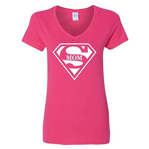GOOD SHOPPERS ACTIVEWEAR Super Mom V-Neck T-Shirt Womens Supergirl Superman Superwoman Movie Girl Mother (Movie Couple Halloween Ideas)