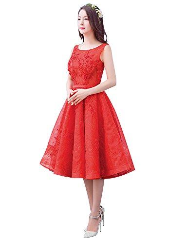 Beauty-Emily A-Line Mittler-Kalb O-Ansatz Tüll ärmel SpitzeApplique drapierte Brautjunfer-Abschluss-Kleider Farbe Rot, Größe EU44