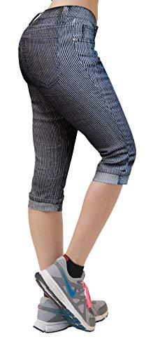 - HyBrid & Company Women's Stretchy Denim Capri Jeans Q22886SK Blue/White 7
