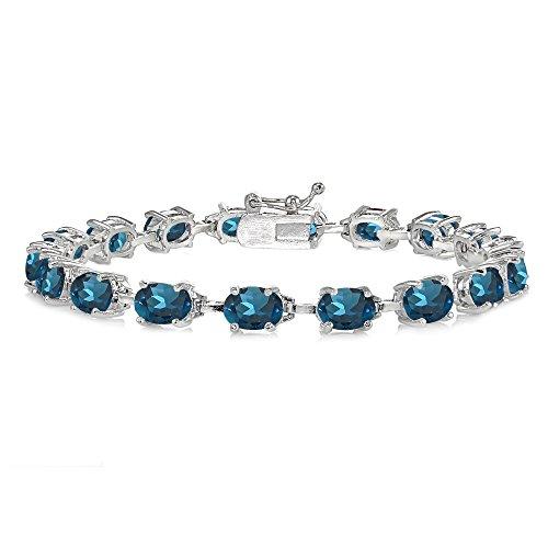 Sterling Silver London Blue Topaz 7x5mm Oval Classic Link Tennis - Bracelet Pendant Blue Topaz