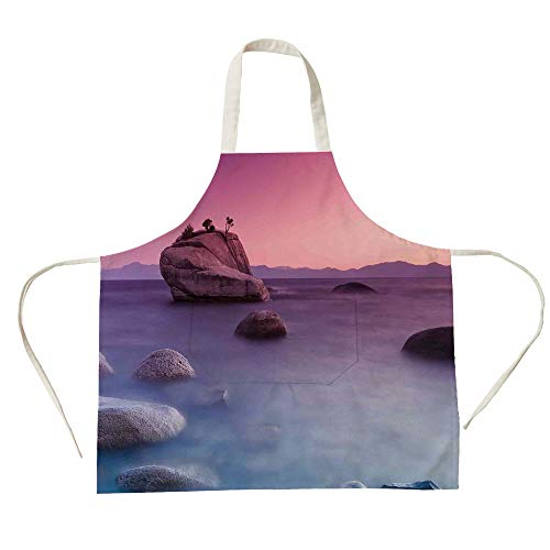 3D Printed Cotton Linen Big Pocket Apron,Lake,Bonsai Rock Floating on Misty Lake Habitat Exquisite Wonders Dreamy Space Landscape,Pink Blue,for Cooking Baking Gardening ()