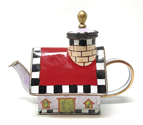 Kelvin Chen Red Roof House Enameled Miniature Teapot with Hinged Lid, 4.25 Inches Long