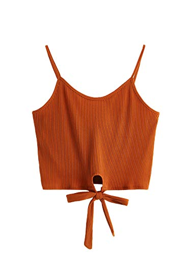 (SheIn Women's Casual V Neck Knot Front Ribbed Knit Crop Cami Tank Sleeveless Top X-Large Orange)