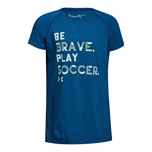Under Armour Girls' Play Soccer T-Shirt, Moroccan Blue/Refresh Mint, Youth (Soccer Ball Youth T-shirt)