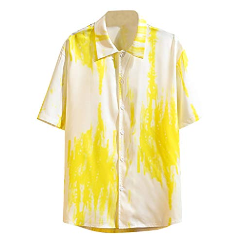 Homeparty Lapel Shirt Mens Summer Printing Loose Short Sleeve Tops Blouse Casual Fashion Yellow -