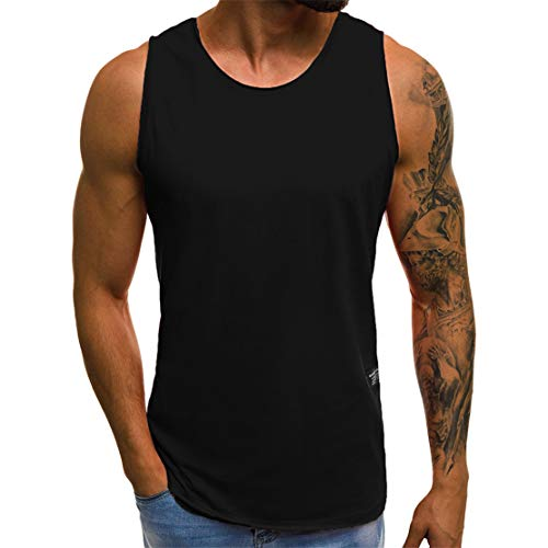 Mikey Store Men's Summer Casual Slim Sleeveless Tank Tops Black -