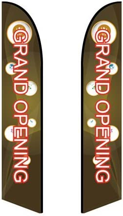 10ft Feather Banner Grand Opening - Style 3 Double-Sided, Poles and Cross Base Included