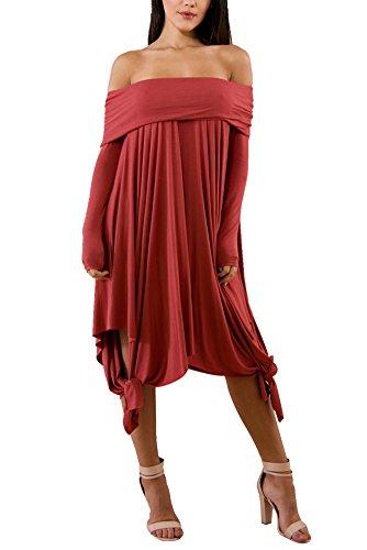 Shoulder Strapless Long Sleeve Irregular Hem Loose Dress Large Dark Red ()