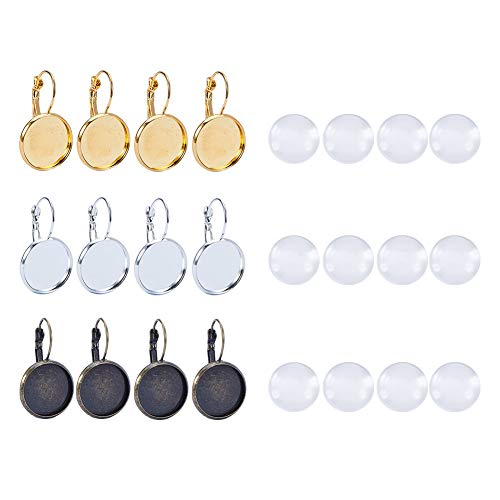 PH PandaHall 30PCS Brass Lever Back Hoop Bezel Earring Components with 30PCS 16mm Glass Cabochons (Round Tray: 16mm,Antique Bronze Gold Silver ()