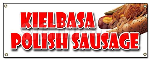 KIELBASA POLISH SAUSAGE BANNER SIGN grilled polski homemade sandwich