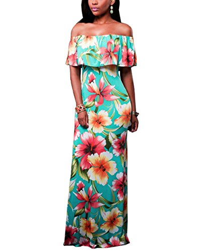 Suimiki Vintage Ruffle Plain Floral Printed Off Shoulder Bodycon Long Party Maxi Dress Turquoise -