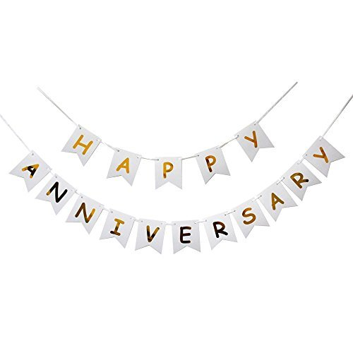 Happy Anniversary Banner Gold Foiled for Wedding Anniversary Party Decoration