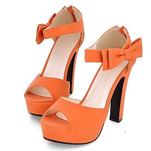 de Aguja Poliuretano Verano PU Almendra Comfort Naranja Tacón Mujer de Talones ZHZNVX Negro de Black Zapatos wqYaPPC