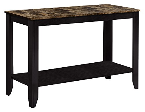 Monarch Specialties Marble Look Top Sofa Console Table, 44-Inch, Cappuccino