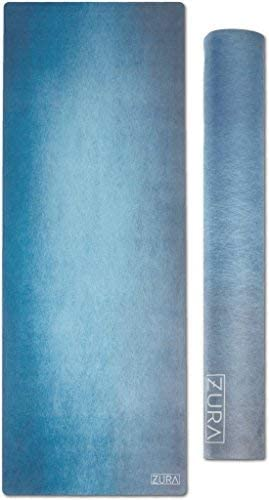 ZURA The Eco-Friendly Combo Yoga Mat Towel, No-Slip Grip with Microfiber Towel Top – Extra Long – 3.5 mm Thick – 100 Natural and Non-Toxic, Machine Washable