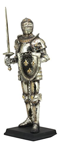 "Ebros Large 16"" Tall Medieval Knight Suit of Armor Swordsman Statue With Base Electroplated Resin Renaissance Knight Decorative Figurine Brand change to:Ebros Gift"