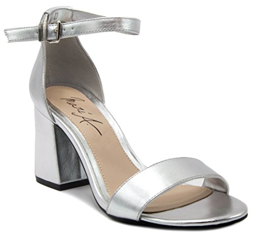 Mari A Women's Nova Block Heel Pump Dress Shoe Sandal 9.5 Silver Metallic